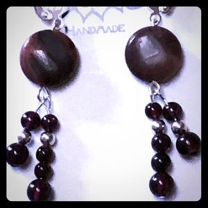 Stacked Garnet & Laguna Agate Earrings